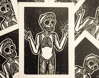Skeleton Guy - ¿Que onda, esqueleto? - LINOCUT PRINT - 4 x 7 INCH