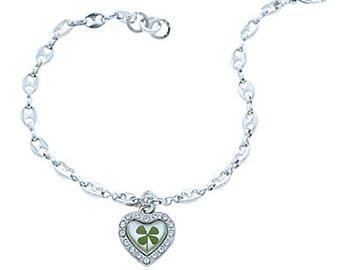 Stainless Steel Real Irish Four (4) Leaf Clover Shamrock Heart Charm Bracelet