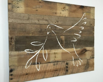 "Religious Decor Peace Dove Spiritual Wall Hanging on Reclaimed Wood 37"" x 29"""