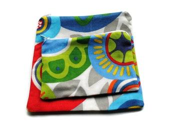 Reusable Zipper Snack Sandwich Bags set of 2 Blue Green Red Beige Cotton Twill
