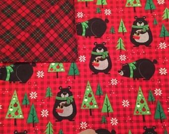 Large Baby Blanket, Swaddle, Bears, Lumberjack, Plaid, Red, Black, Green, Baby Boy, Reversible, Receiving Blanket, OOAK, Baby Shower Gift