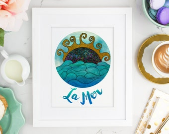 La Mer Typography - Sun and Ocean Waves Illustration Art Print – 8x 10 or 11 x 14 Poster