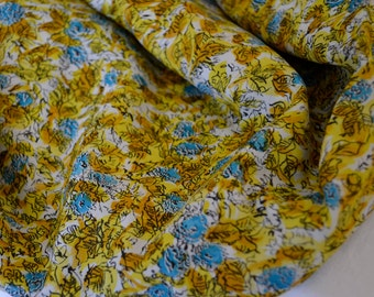 """1950's vintage rayon printed acetate fabric yellow mustard brown black with blue flowers on white 2 yards 12"""" by 38"""" wide very pretty silky"""