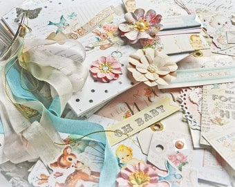 Mini Album Kit / Mini Album Tutorial / Shabby Chic Book / Baby Album / Scrapbook Kit / Baby Book / Memory Book Kit / Baby Shower Gift