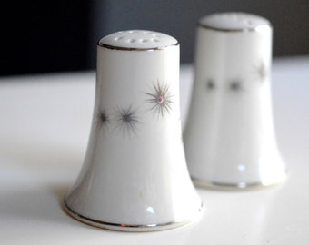 Vintage Salt and Pepper Shakers Gray and White Japan.