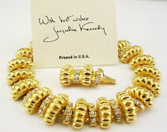 Jackie Kennedy Signature Bracelet - Gold Plated, Crystals, Box and Certificate - Sz 7 or 8