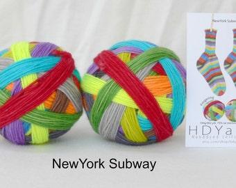 NEWYORK SUBWAY – hand-dyed self-striping sock yarn, fingering weight