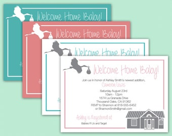 Welcome Home Baby Invitation || Baby Shower, Viewing Party || Custom Digital Download Printable File || Stork, House, Pink, Blue, White
