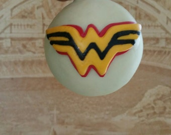 Wonder Woman glow in the dark polymer clay Christmas Ornament