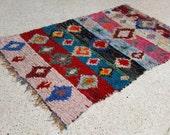 "95""X63"" Vintage Moroccan rug woven using different scraps of used textiles / boucherouite / boucherouette"