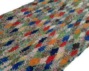"114""X63"" Vintage Moroccan rug woven by hand from scraps of fabric / boucherouite / boucherouette"