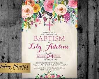 Floral Baptism Invitation. Flower Baptism Invitation, Great for any Baptism, Christening, Dedication ,First Communion. Girl Baptism - sfc