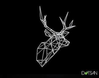 XL 3D Printed Stag Deer Polygon Trophy Head Facing Ahead