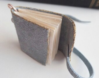 Mini wearable journal pendant blue suede with coffee stained pages USA, love notes vows autographs poetry something blue sketch book journal