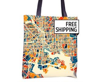Baltimore Map Tote Bag - Maryland Map Tote Bag 15x15