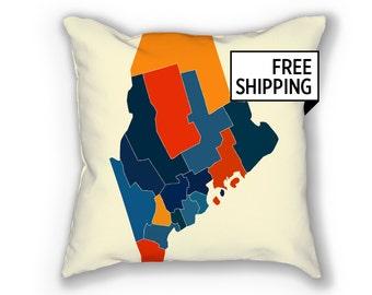 Maine Map Pillow - ME Map Pillow 18x18