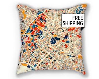 Athens Map Pillow - Greece Map Pillow 18x18