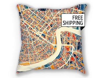 New Orleans Map Pillow - No Map Pillow 18x18