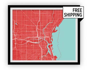 Milwaukee Map Print - Choose your color