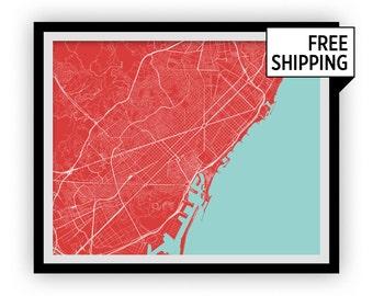 Barcelona Map Print - Any Color You Like