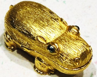 CHARLIE Solid Perfume Gold Tone Hippo Compact Trinket Container 1970 Accessory Collectible
