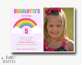 Rainbow party invitation/Rainbow party/Rainbow invitation/rainbow invitations/thank you card/Rainbow Invitation-Charlotte