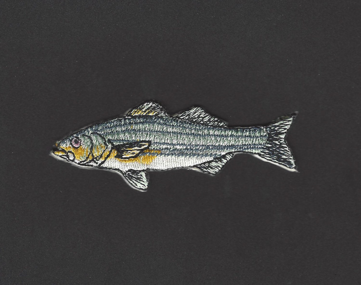 Striped bass fish embroidered iron on applique patch for Iron in fish