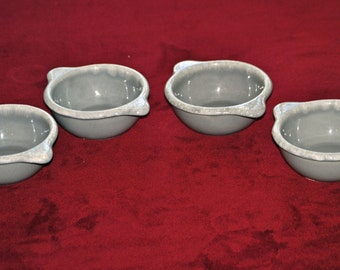 Four HULL Gray Marbled Bowls