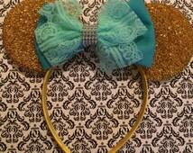Cute Aqua Girly Lace Bow inspired Gold Sparkle Minnie Mouse Headband Ears