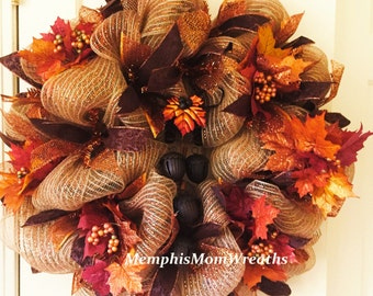 Fall Leaves Deco Mesh Wreath - Deco Mesh Wreath - Fall Wreath - Thanksgiving Wreath