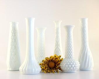Milk Glass Vase Collection - Set of 6