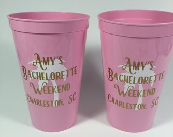 Personalized Bachelorette Party Cups, Set of 8, Personalized, Clip Art, Anchor, Palm Tree, Pineapple, 2 colors, Boot, Diamond