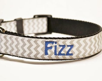 """Personalized Gray Chevron Dog Collar - Made to order - 1"""" Wide"""