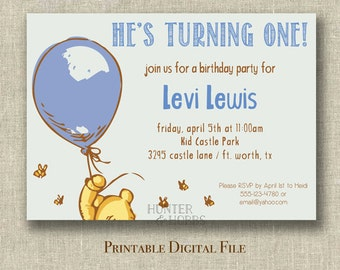 Printable Classic Pooh Birthday Party Invitation Blue Digital File Only - invite - bear - balloon