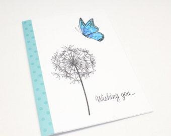 Handmade Card - Teal Dandelion Birthday Wishes - Birthday Card - Teal Polka Dot Card - Butterfly Card