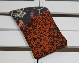 Small Zipper Case, Minimalist Bag, Weed Bag, Pot Pipe Holder, Every Day Bag, Black and Orange Halloween Cobwebs and Owls Zipper Bag