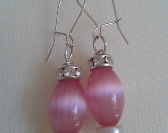 3.5 cm drop Pink tigereye loop earrings
