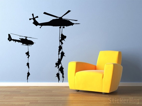 "Military Helicopter Troopers Rappelling Wall Decal Vinyl Military Sticker 58x58"" Home Decor"