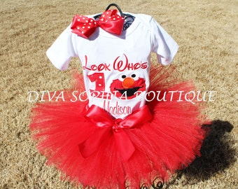"""Personalized """"Look Who's""""  Elmo Tutu Set with Number - Newborn - Baby Infant Toddler up to size 4T -  Birthday Set"""