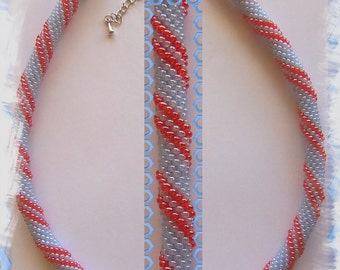24 Beaded crochet necklace - necklace - Pearl - crochet chain