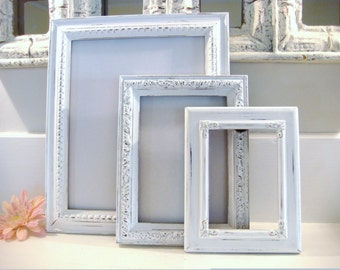 White frames, shabby chic frames, ornate frames, nursery decor, distressed frame, wedding frame