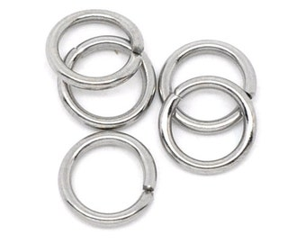 50 piece silver open clamp ring made of stainless steel, 7 mm