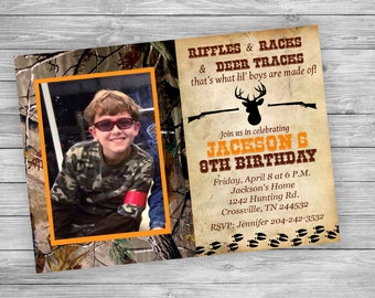 Hunting Birthday Invitation with Picture - Personalized Digital File