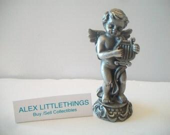 Vintage Pewter Cherub Angel Figurine Playing Musical Instrument