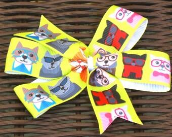 Cat 4 Inch Hair Bow in 3 Versions-Kitten 4 Inch Pinwheel Bow-Pet Party-Pet Party Favor-Pet Party Bow-Cat Accessory-Kitten Accessory-BowBravo
