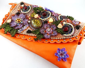Handbag, evening bag, Clutch Bags, Bead Embroidery, Sunset