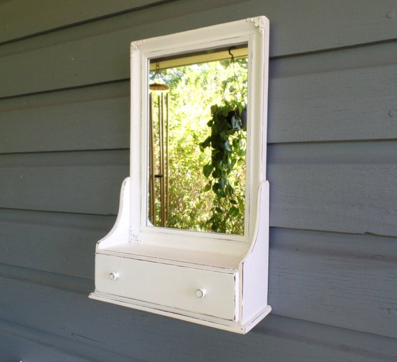 Mirror with shelf and drawer shabby chic wood wall mirror for Wooden bathroom mirror with shelf