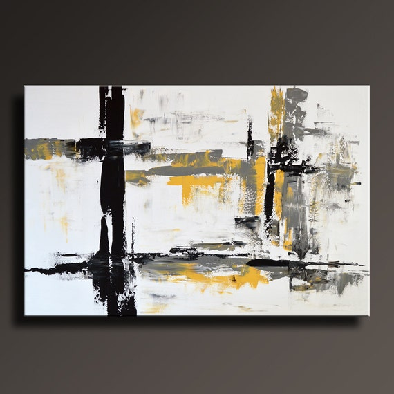 48 large original abstract yellow gray black white by itarts - Peinture noir et blanc moderne ...