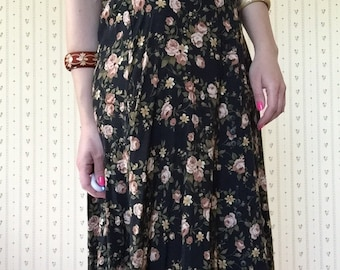 1970s micro roses skirt | button front maxi skirt