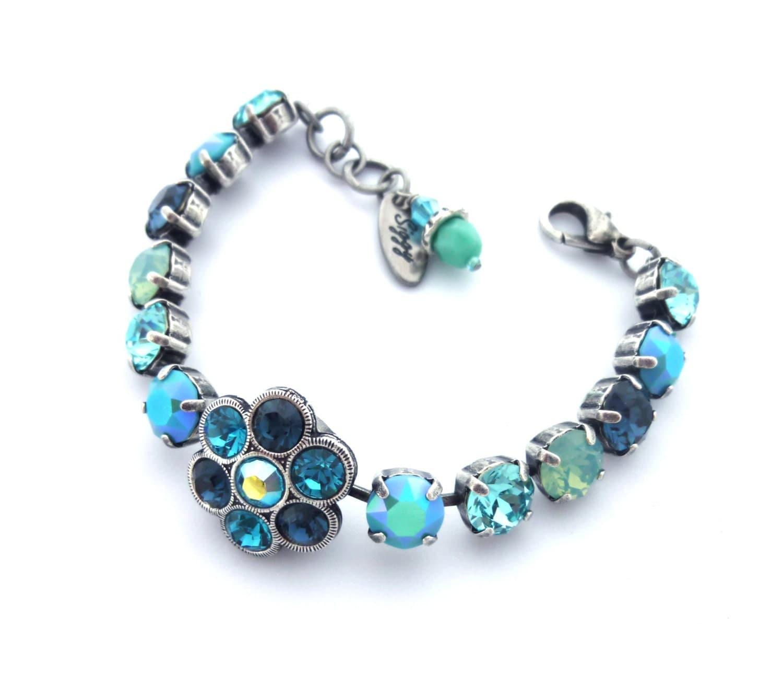 swarovski crystal tennis bracelet 8mm multi shades of blue. Black Bedroom Furniture Sets. Home Design Ideas